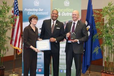 Andree Fant (left), Port NOLA Vice President of Planning & Facilities, and Robert Lloyd (right), Port NOLA Environmental Scientist, accepts an Environmental Leadership Award from Dr. Chuck Carr Brown (center), LDEQ Secretary. Photo credit LDEQ / Port NOLA