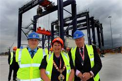Andrew Oxby, Operations Manager, Teesdock, PD Ports (left), Olwyn Peters, Mayor of Redcar and Cleveland (center) and Pekka Huhtaniemi, Finnish Ambassador for the UK (right).