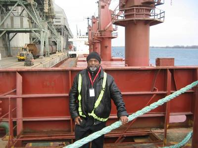 Fr Andrew Thavam – the port chaplain who supported the crew. (Photo: AoS)