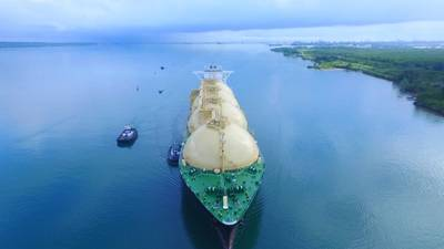 On April 28, the Panama Canal received the inaugural transit of the Neopanamax LNG Sakura en route from the U.S. to Japan. (Photo: Panama Canal Authority)