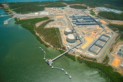 Arrival of first gas from its coal seam gas fields in the Surat Basin to its liquefied natural gas (LNG) facility on Curtis Island, near Gladstone, Queensland. Courtesy APLNG