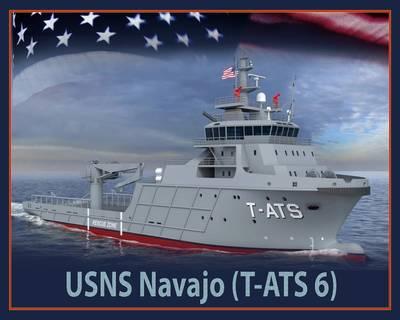 An artist rendering of the future USNS Navajo (T-TATS 6). (U.S. Navy photo illustration/Released)