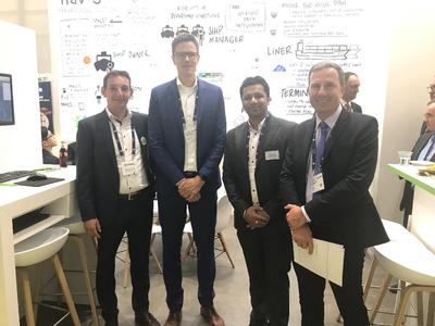 (L-R) Bastian Gehnke of Navis, Thiemo Ullrich from Zeaborn, an Yuvraj Thakur and Julien Dufour of Verifavia Shipping at SMM 2018 (Photo: Verifavia)