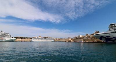 MSC Bellissima, Costa Fascinosa and Sapphire Princess at Valletta's Grand Harbor (Photo: Valletta Cruise Port)