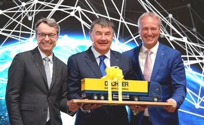 From left: Bernhard Simon, CEO Dachser, Albert Johnston, Managing Director, Johnston Logistics and soon of Dachser Ireland as well as Michael Schilling, COO Road Logistics at Dachser, at transport logistic in Munich. (Photo: Dachser)