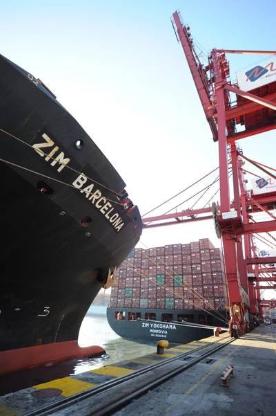 Zim boxship cargo operations. CREDIT: ZIM