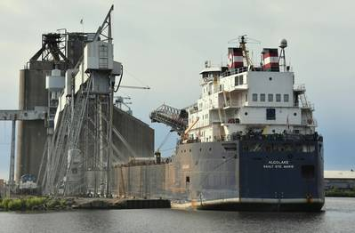 The Canada-flag Algolake loading wheat at the CHS elevator in the Port of Duluth-Superior. (Photo by: Terry White / Chamber of Marine Commerce)