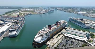 Port Canaveral, FLA with the port's container facility in the center background. (File Image / Port Canaveral)