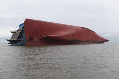 The car carrier Golden Ray sits capsized in St. Simons Sound, Ga. (U.S. Coast Guard photo by Brian McCrum)