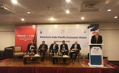 Charles Sinunu making Speech at the Indo-Pacific Economic Vision Seminar (Photo: DSC Dredge)