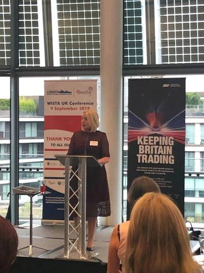 ABP Chief HR Officer, Alison Rumsey speaks at the ABP-WISTA UK reception in City Hall during London International Shipping Week. Photo: ABP