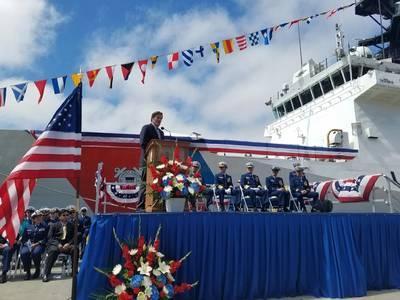 Congressman Garamendi providing remarks during the Change of Command Ceremony Photo USCG