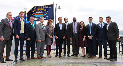 Connecticut Port Authority and Governor Lamont announced $93 million public-private investment in State Pier to develop Connecticut into the center of New England's offshore wind industry. (Photo: CPA)