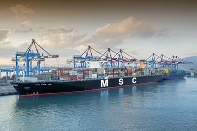 an MSC Containership in port (CREDIT: Port Haifa)