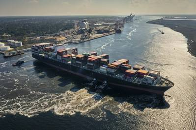 A containership navigates in the turning basin at Wilmington Navigational Harbor (Photo: North Carolina State Port Authority)