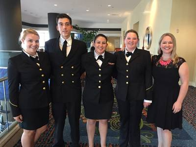 Crowley Maritime Corp. presented four California Maritime Academy (CMA) students with Thomas B. Crowley Sr. Memorial Scholarships  Photo Crowley Maritime