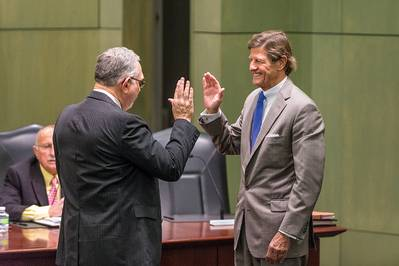 Darryl D. Berger is sworn in on February 23, 2017, at the monthly meeting of the Board of Commissioners of the Port of New Orleans. (Photo: Port of New Orleans)