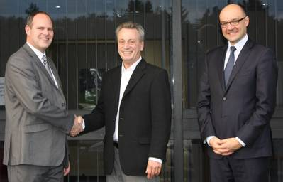 """Eric Dehouck, CEO of Degremont Technologies (right), attended an official meeting on Thursday, January 9 where Jim Wheatley (center) and Tom Kelly (left) shared the traditional Scottish """"Quaich"""" signifying the handover."""