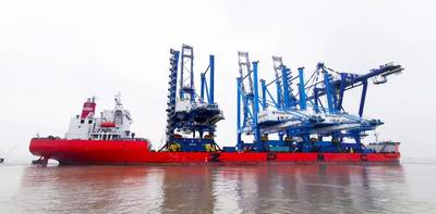 The M/V Zhen Hua 25 departs the Port of Shanghai on January 8, 2019 with two super post-Panamax container cranes bound for PhilaPort's Packer Avenue Marine Terminal in South Philadelphia. Image: PhilaPort
