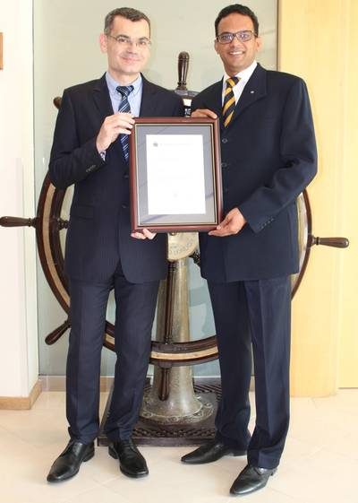 GAC Dubai's Qualilty Manager, Sandeep Kumar, receiving the award from DNV representative (Photo: GAC)