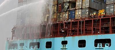 Eugen Maersk firefighting: Image courtesy of DMAIB