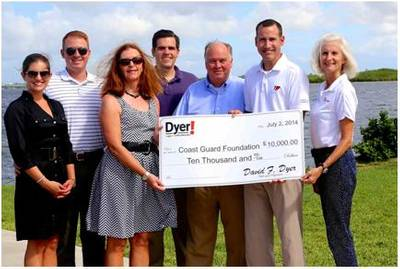 The Dyer family- left to right:  Tatiana and Will Dyer, Harriet Dyer, John Dyer and David Dyer, with Coast Guard Foundation's regional director Brian Overcast and Coast Guard Foundation board member VADM Sally Brice-O'Hara, USCG (Ret.).  The $10,000 gift from Dyer Chevrolet, Ft. Pierce Florida was presented today to the Coast Guard Foundation to fund kayaks, stand-up paddleboards, and camping and fishing gear for the 45 active duty members and 15 reservists, and their families based at this Coas