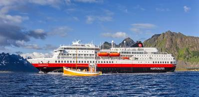 The 'Finnmarken' is the first of three Hurtigruten ships to be fitted with Wärtsilä NOR systems for Tier III compliance, after which it will be renamed the 'MS Otto Sverdrup'.   (CREDIT: Wartsila)