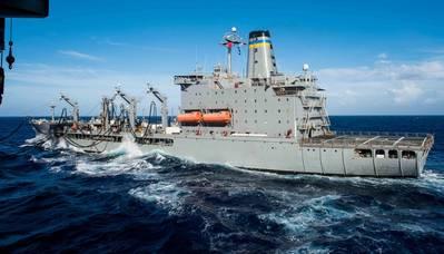 A US Navy fleet oiler on station. CREDIT: USN