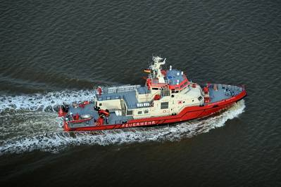 """Following the delivery of fireboat """"Branddirektor Westphal"""", the Hamburg Port Authority (HPA) has ordered two more fire-fighting vessels Photo Credit: Fassmer"""