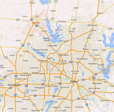 Fracking has been banned by voters in Denton, TX, a suburb of Dallas. This is significant as fracking was pioneered nearby. (Source: Google Maps)