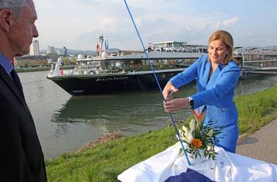 Godmother Jill Ellis christens the Avalon Passion in Linz, Austria. Photo: Avalon Waterways