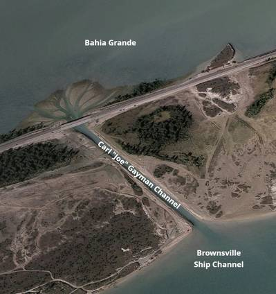 "This Google Maps aerial photo shows the Carl ""Joe"" Gayman channel connecting the Bahia Grande with the Brownsville Ship Channel. This channel will be widened from its existing 34-foot width to 250 feet, providing much more natural tidal exchange and ecological growth in the Bahia Grande. (Photo: Port of Brownsville)"