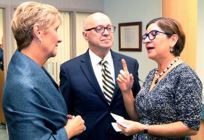 Guatemalan Trade Commissioner Dunia Miranda-Mauri, right, talks about expanding trade ties with, from left, Vanessa Baugh, chairwoman of the Manatee County Port Authority, and Carlos Buqueras, executive director of Port Manatee (Photo: Port Manatee)