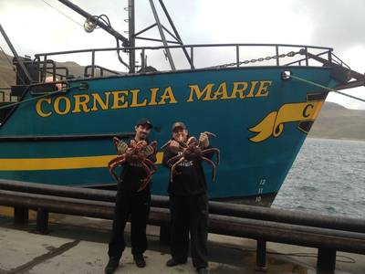 Josh Harris (left) and Casey McManus (right), with fishing boat Cornelia Marie