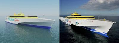 Left: Two 117m high-speed vehicle passenger ferries to be built by Austal for Fred Olsen SA of Spain (Image: Austal). Right: The 127m Benchijigua Express was the world's first and largest trimaran hull vehicle passenger ferry, designed and built by Austal for Fred Olsen SA in 2005. (Image: Austal)