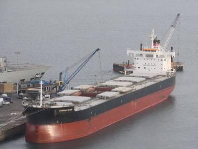 File Image: a bulk carrier alongside and loading in the port of Portland, UK (CREDIT: port of Portland)