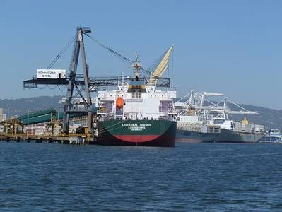 file image, container ships at port of Oakland (courtesy: Captain Katharine Sweeney)