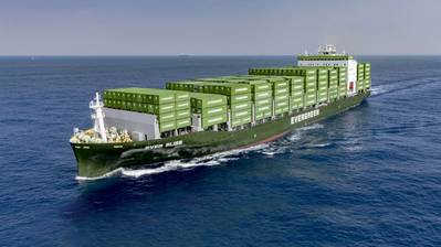 File Image: an Evergreen boxship underway (CREDIT: Evergreen)