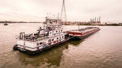 A file image of a typical Kirby pushboat and barge. CREDIT: Kirby Corporation