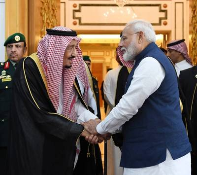 Indian Prime Minister, Narendra Modi meeting the King Salman bin Abdulaziz Al Saud of Saudi Arabia, in Riyadh, Saudi Arabia on October 29, 2019. Photo: PIB