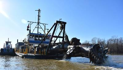 The Inland Dredging Company's cutterhead dredge Integrity, along with one of its small tugboats, works to dredge the Memphis Harbor/McKellar Lake, which was the last of 10 harbors dredged in the Memphis District during 2019. (Photo: USACE/Jessica Haas)