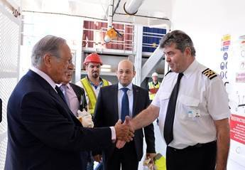 Jacques R. Saadé on board the CMA CGM Columba (Photo courtesy of CMA CGM)