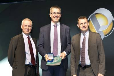 Jean-Jacques Biteau, Vice-President, EAGE; Professor Sebastian Geiger, Heriot-Watt University; Chris Ward, President, EAGE. (Photo: Heriot-Watt)