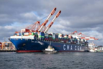 CMA CGM Libra at South End Container Terminal in the Port of Halifax, Nova Scotia. The port is a significant contributor to the regional economy: a recent economic impact report by Chris Lowe Planning and Management Group found that its output from operations in 2017/18 was C$1.97 billion, up 15 percent from 2015/16 values. Photo: Steve Farmer