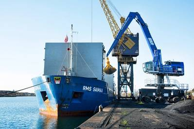The new Mantsinen 120M HybriLift hydraulic crane now in operation at the Port of Swansea.  (Photo:  Cooper Handling)