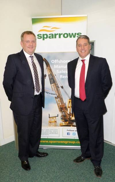 Martin Thomson (left) is welcomed to the Sparrows Group by European Operations Director Mark Beveridge.