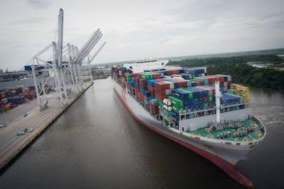 More than 9,500 TEUs were moved on and off of the OOCL France, one of two 13,000-plus TEU vessels to call the Port of Savannah within 21 days. The arrival of larger vessels, including the OOCL France, contributed to a record-breaking month for the Georgia Ports Authority.  (Photo: GPA)