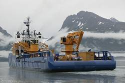 The Nanuq was outfitted with oil-spill-response capabilities well before the 2010 Macondo spill in the Gulf, he noted. The Aiviq is designed to work in tandem with the Nanuq. (Photo Courtesy Shell)
