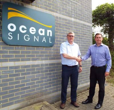 Ocean Signal founder, Alan Wrigley (left), hands over the reins to Neil Jordan (right) (Photo: Ocean Signal)