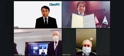 "The Online Certificate Delivery Ceremony: (Top right: Takakage Imai, President, MOL Ship Management Co., Ltd.; Bottom right: Master of M/V ""Orca Ace"", Capt. Sergey Nichiporenko; Bottom left: Satoshi Fujii, General Manager, Mitsui O.S.K. Lines, Ltd.; Top left: Yoshinori Kozeki, Corporate Officer, ClassNK)"